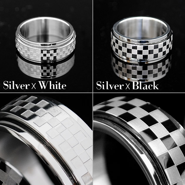 Checkered flag ring Mens Gold blue black black ring reamer simple stainless steel Ruby limited brand sale pairing brother of Shibuya series surf-