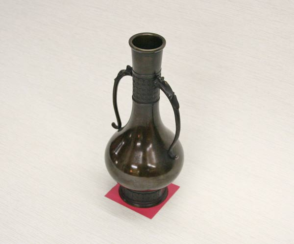 【送料無料】 花瓶 胡銅龍耳茶花入 高岡銅器