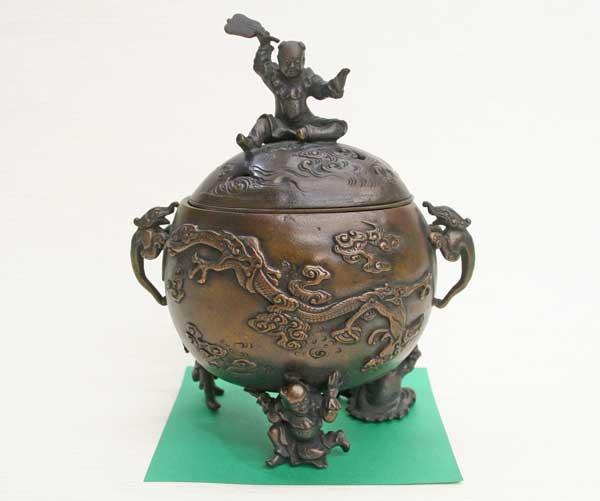 【送料無料】 香炉 唐子香炉 高岡銅器