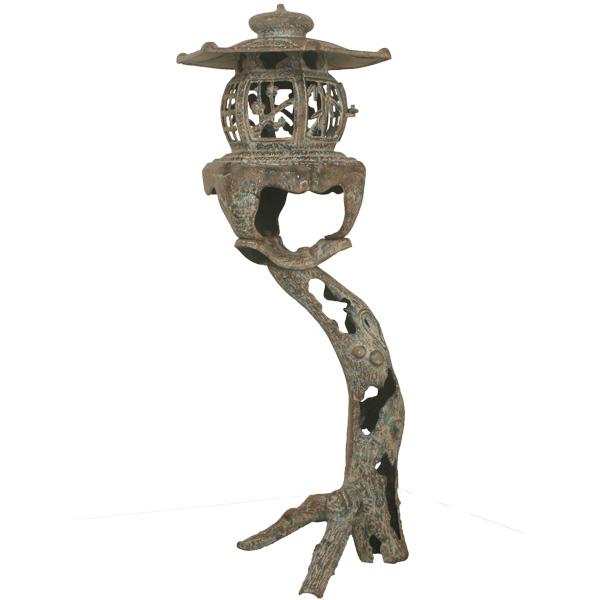 【送料無料】 灯篭 高岡銅器 古木灯籠 古朴燈籠 庭置物