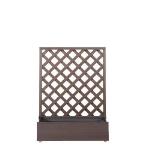 <樹脂 プランター ラティス 置くだけ>プランターボックス付きウッディープラフェンス 高さ120cm×幅90cm