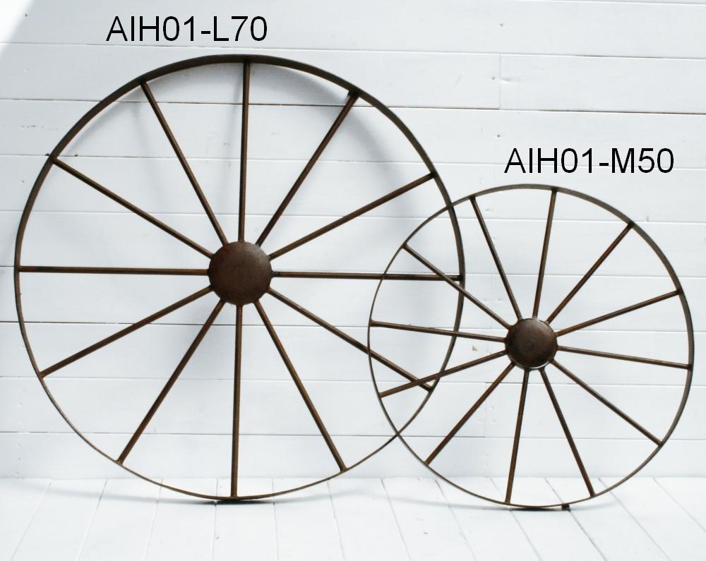 【2台セット】アイアン製ガーデンデコホイール 車輪L型【AIH01-L70】x2※同じサイズの物が2個セットです