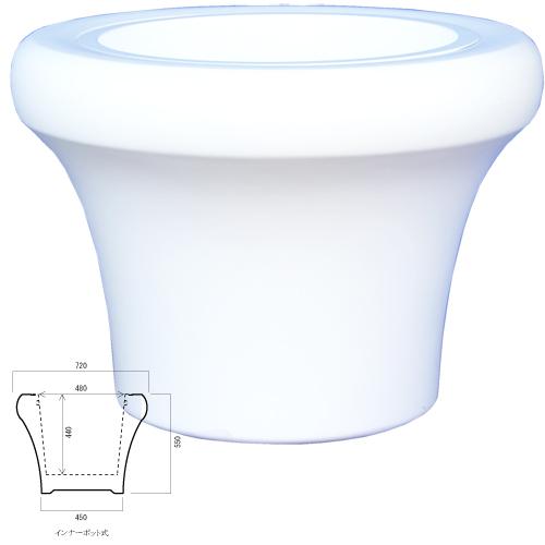 リアルFRPポットVEENESビーネスサークルDC-BN01-720Wオフホワイト