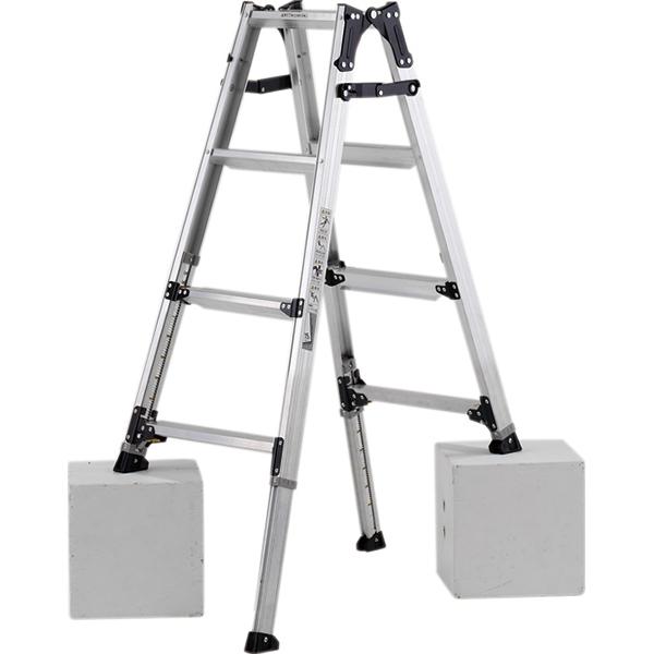 【送料無料】ステップ幅広伸縮脚付はしご兼用脚立120cm PRW-120FX