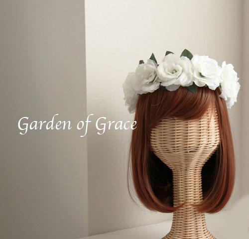 ビッグローズのシンプル花冠 調節自由 ホワイト 薔薇 ローズ シルクフワー 造花 花輪 ウエディングドレス 結婚式 二次会ドレス パーティー