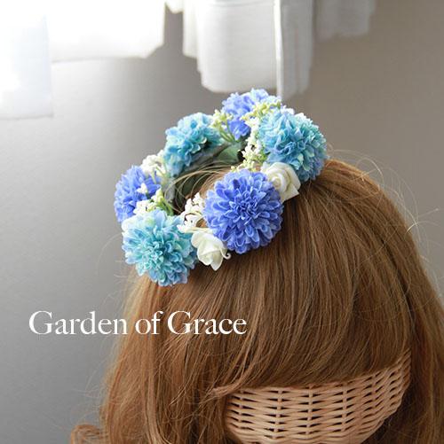 ミニ花冠 斜めにつける ナチュラル シルクフラワー.薔薇 造花 花輪 ヘッドリース ウエディング 結婚式 二次会 パーティーのヘッドドレス