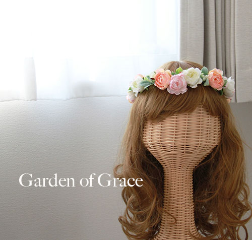 花冠 調節自由 ヘッドドレス 薔薇 ピンク オレンジ シルクフラワー 造花 花輪 ウェディングドレス 結婚式.二次会ドレス パーティーにも ウエディング 花冠 はなかんむり