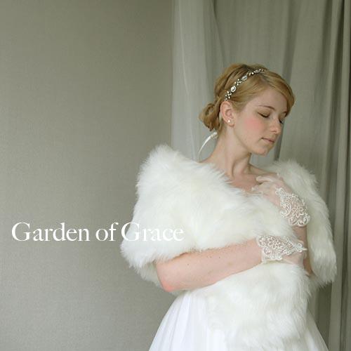 ファーショール ファーボレロ ウエディング パーティー.ドレスの羽織物 ウェディングドレスにも最適 【フェイクファーシンプルショール】