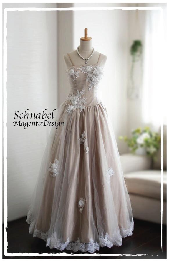 ウエディングドレス カラードレス ヨーロッパオートクチュール調 バック編み上げのカラードレスガーデンパーティ二次会ナチュラル系の花嫁様にシュナーベルシンプルドレス