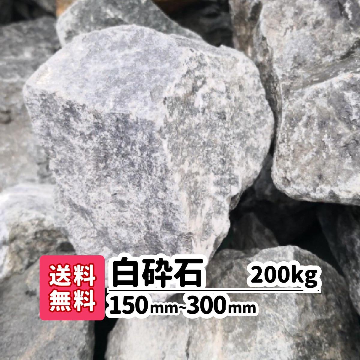 【送料無料】200kg ロックガーデン白砕石 150mm~300mm(20kg×10)庭 アプローチ おしゃれ ガーデニング アクアリウム 白い石 砂利 大きい石 イングリッシュガーデン 花壇 似合う 水槽 メダカ 熱帯魚
