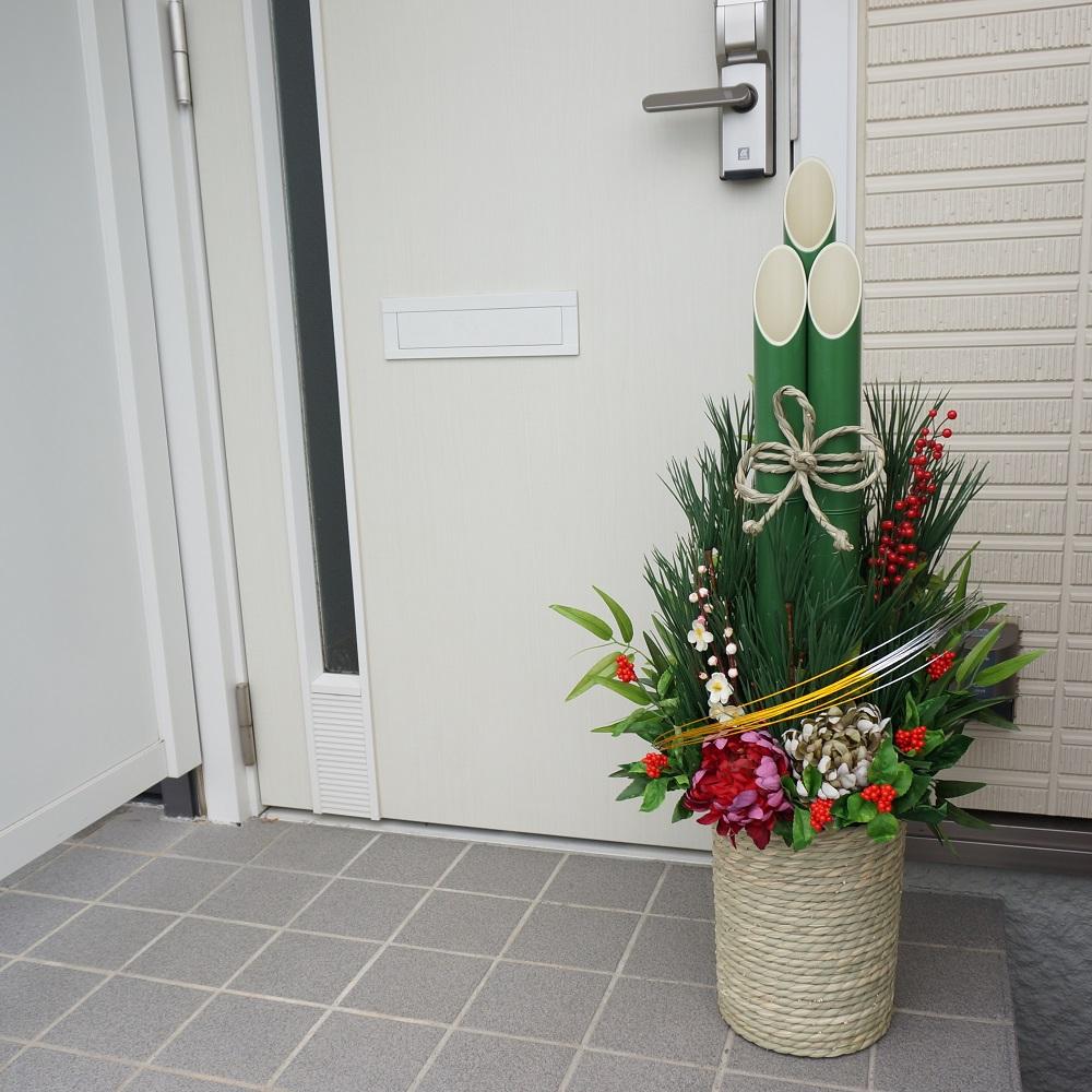 門松90サイズいぐさタイプ×1台【人工門松】【造花門松】【送料無料】新年を迎える縁起の良い門松を石巻からお届けします