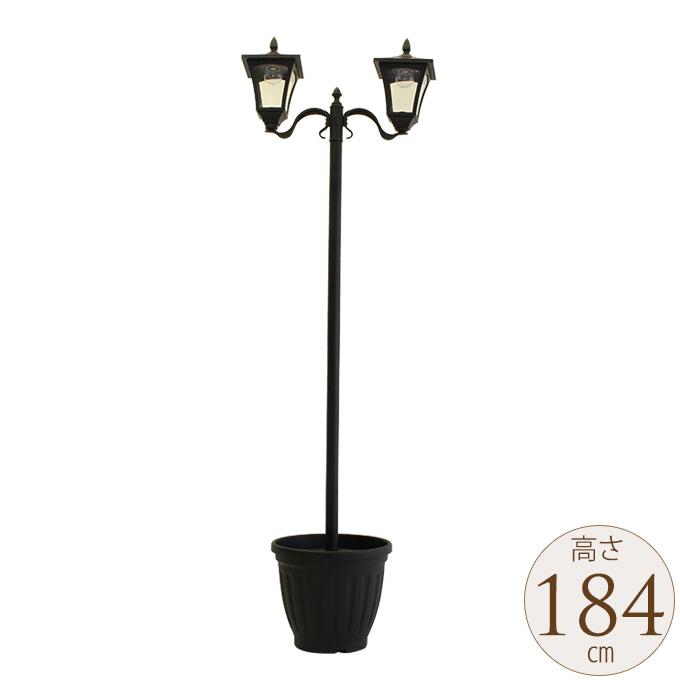 西洋ソーラーライト街灯 屋外 2灯タイプ プランター付き ガーデンライト ソーラー LED ヨーロッパ 洋風 置き型 庭 置くだけ おしゃれ 庭園灯 ガーデニング ヨーロピアン 【送料無料】