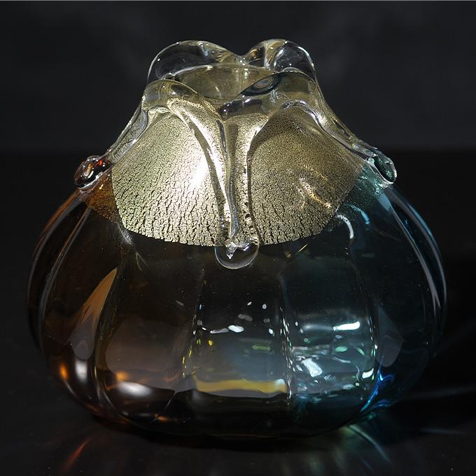 花瓶 ガラス 国産 光と海と大地 秋色三重奏 (小)  花器 大きい おしゃれ 日本製 大きな フラワーベース 青森 津軽 職人 ギフト 贈り物 プレゼント 活花 生花 活け花 国産 きれい キレイ 【送料無料】