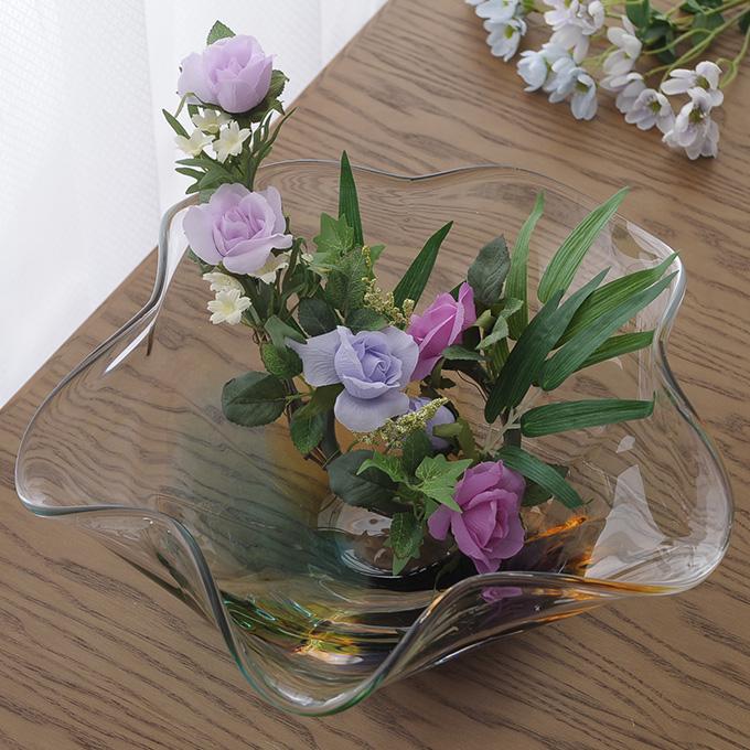 生け花 花器 水盤 地球のゆがみ ガラス水盤 高級 おしゃれ 日本製 大きな フラワーベース ギフト 贈り物 プレゼント 生け花 活花 生花 活け花 不思議