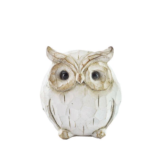 信用 ふくろうのカワイイ木彫りのような質感のアンティークオブジェ ガーデニング雑貨 アンティーク フクロウ レジン オブジェ S ホワイト ガーデン バード 置物 動物 かわいい 飾り お買い得 雑貨 ふくろう 鳥