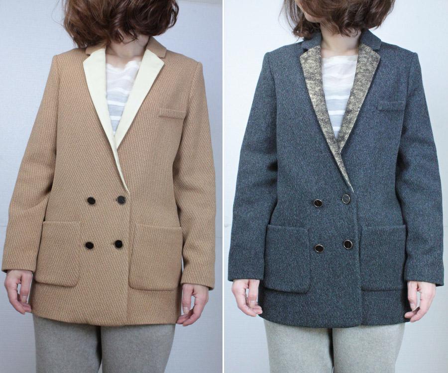 50%アウトレット!バーゲンプライス forte forte フォルテフォルテパネルカラー衿 ダブルジャケットキャメルとグレイの2色展開