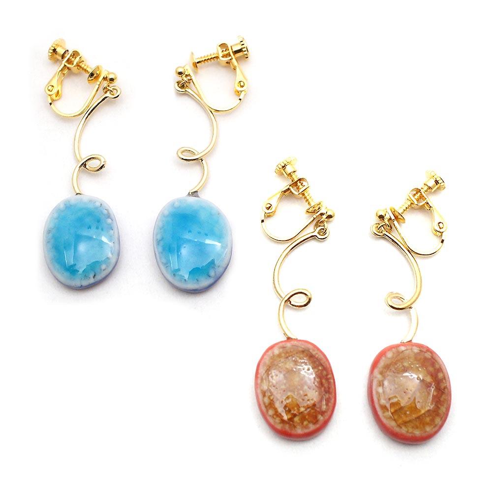 セール特価 有田焼 カラフルガラス宝石 イヤリング:gargle ガーグル 店舗