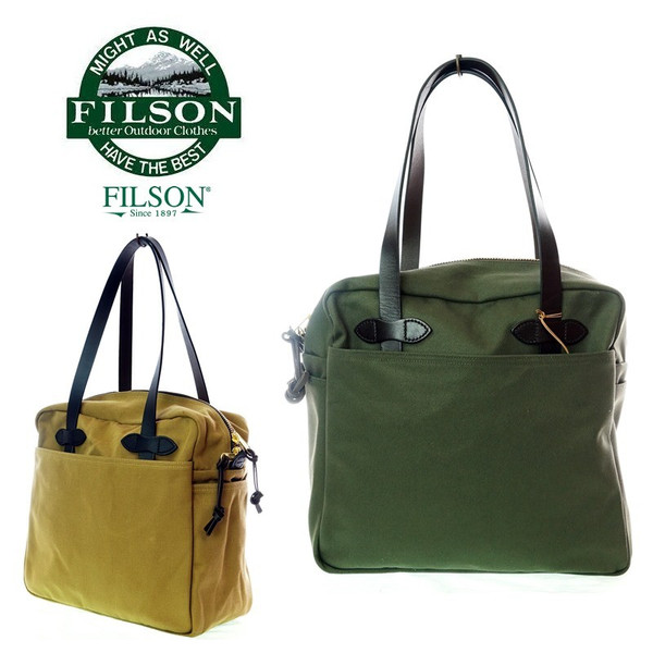 FILSON フィルソン 8036/8037 TOTE BAG with ZIPPER トートバック tan/GRN