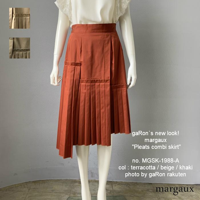 【margaux】【Pleats combi skirt】プリーツコンビスカート プリーツスカート アシンメトリー きれいめスカート レディース タイプライター生地 ウエストゴム マルゴー服 大人きれいめ服 送料無料