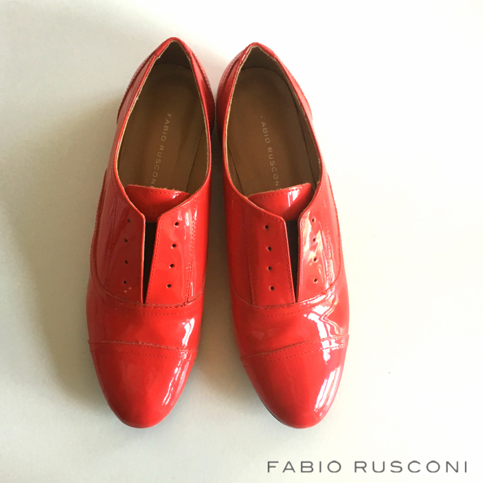 【FABIO RUSCONI】エナメルフラットシューズ ファビオルスコーニ レースアップシューズ フラットシューズ エナメル 赤靴 garon別注 オジ靴 トラッド ポインテッドトゥ