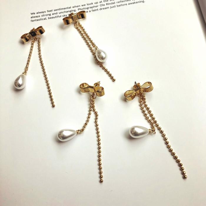 【Ravi】【Ribbon & pearl earrings】ラビアクセ リボンピアス パールピアス ハンドメイドアクセサリー じゃらじゃらピアス きれいめピアス 大人ピアス プレゼント 贈り物にも ネコポス可 raviaccessory raviaccessories
