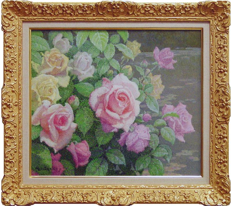 三宅信博『池畔』(薔薇)油絵・油彩画 F10(10号)
