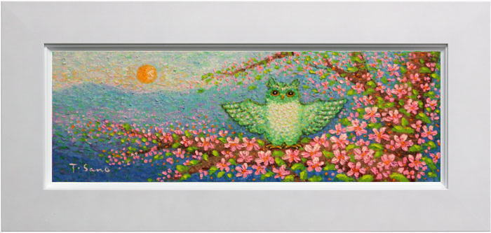 佐野千恵子『桜ふくろう』油絵・油彩画 WSM(ダブルサムホール)