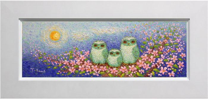 佐野千恵子『桜と三羽の白ふくろう』油絵・油彩画 WSM(ダブルサムホール)