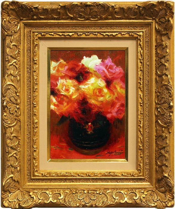 独特の素材 山本彪一『薔薇』油絵・油彩画SM(サムホール), BrownFloor clothing:15499b3b --- greencard.progsite.com