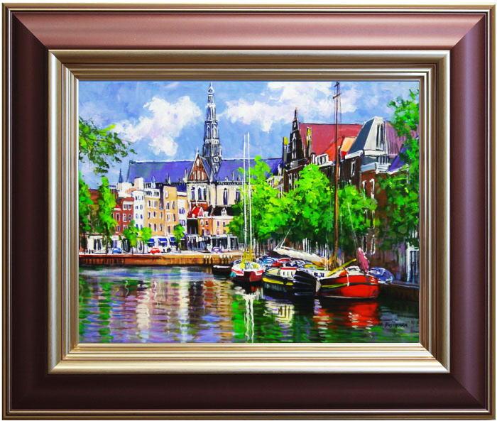 藤原英信『アムステルダムの運河』 2油絵・油彩画 F6(6号)