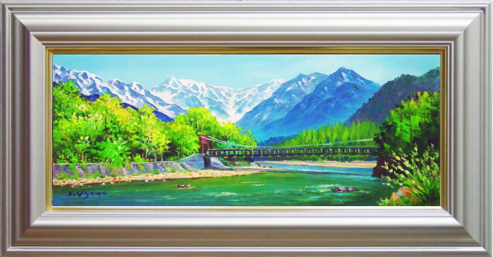羽沢清水『河童橋』油絵・油彩画  WF3