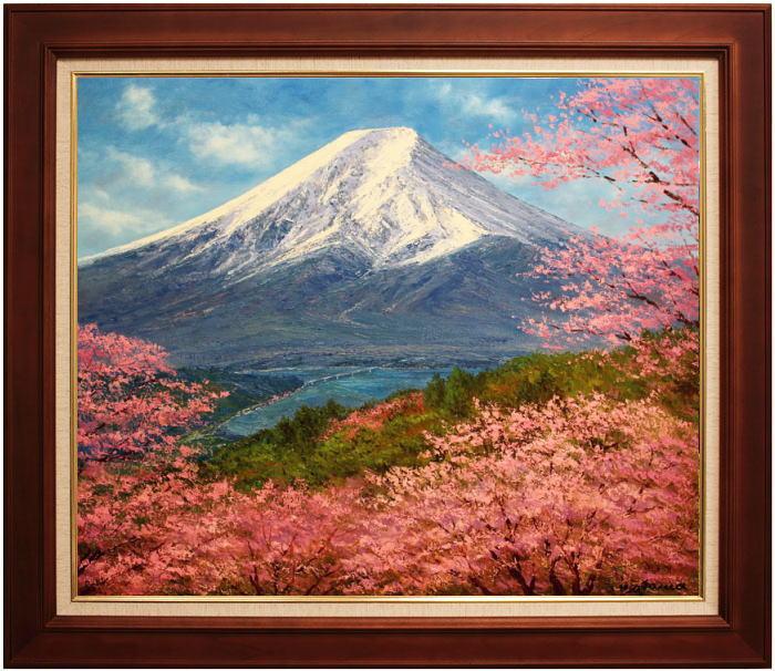 小川久雄『富士に桜』油絵・油彩画 F20(20号)
