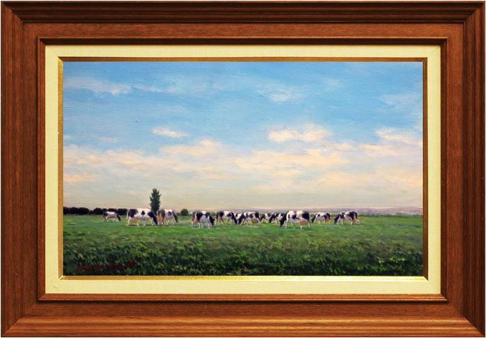松本竹敏『牧場風景』油絵・油彩画 M8(8号)【中古】
