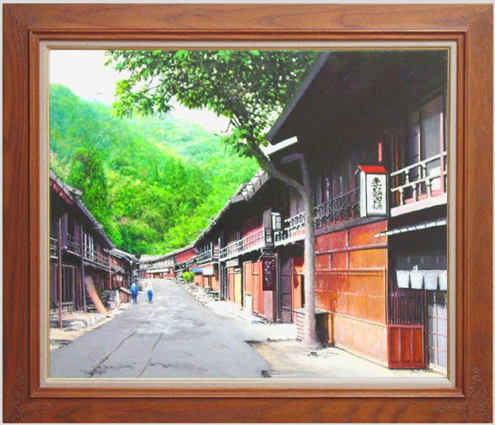澤井 進『妻籠宿』 油絵・油彩画 F20(20号)