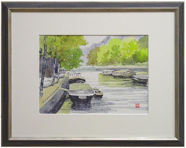 今泉一郎『運河』水彩画