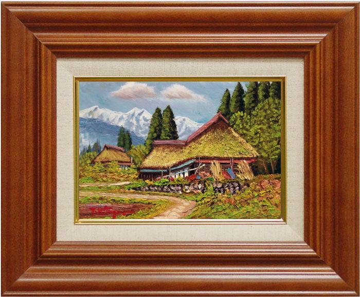 北川照生『安曇野の山郷』油絵・油彩画 SМ(サムホール)