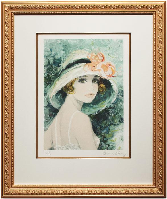 ベルナール・シャロワ『帽子を被ったクララ』リトグラフ版画