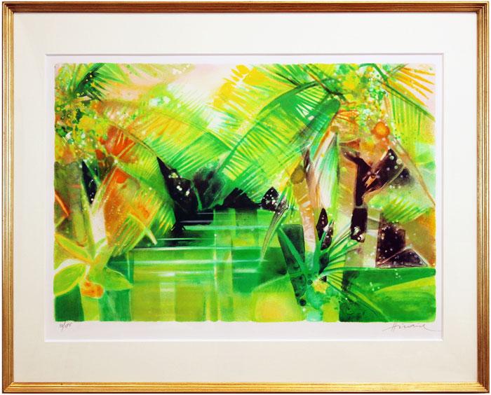 カミーユ・イレール『椰子の木のある河』リトグラフ【中古】