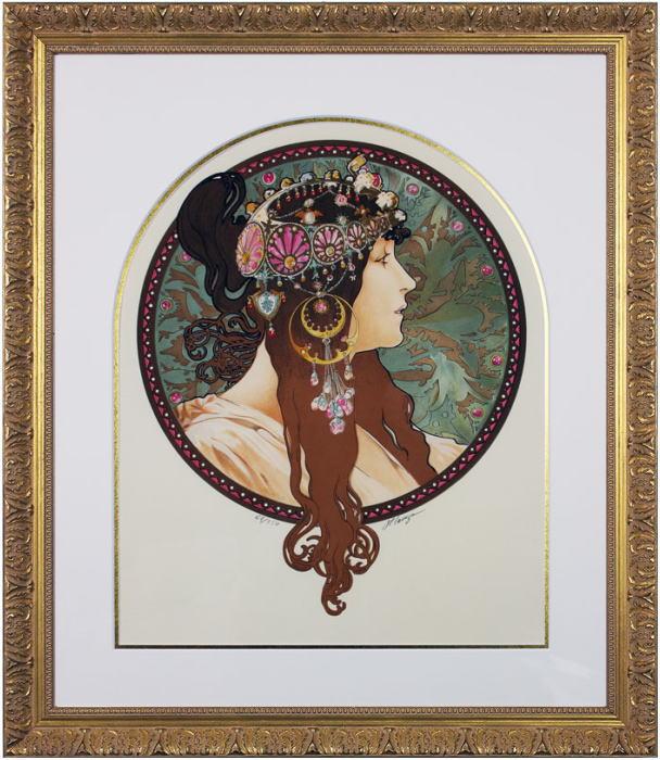 アルフォンス・ミュシャ『ビザンチンヘッド ブルネット』(ビザンティン風の頭部) リトグラフ版画