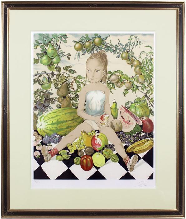 藤田嗣治『少女と果実』リトグラフ(石版画)