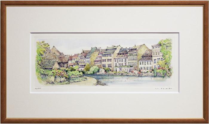 【中古】曽根浩二『ストラスフールの街』銅版画(エッチング)+手彩色