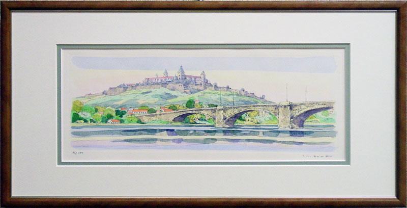 散热,k.' マリエンブルグ 城堡 ' 版画 (蚀刻) + 手绘