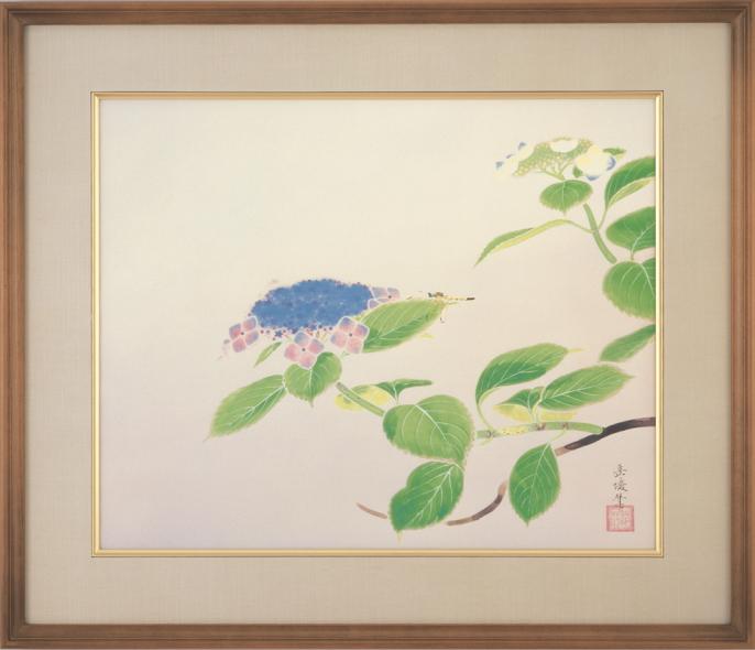 中村岳陵『八仙花』彩美版・複製画 額装