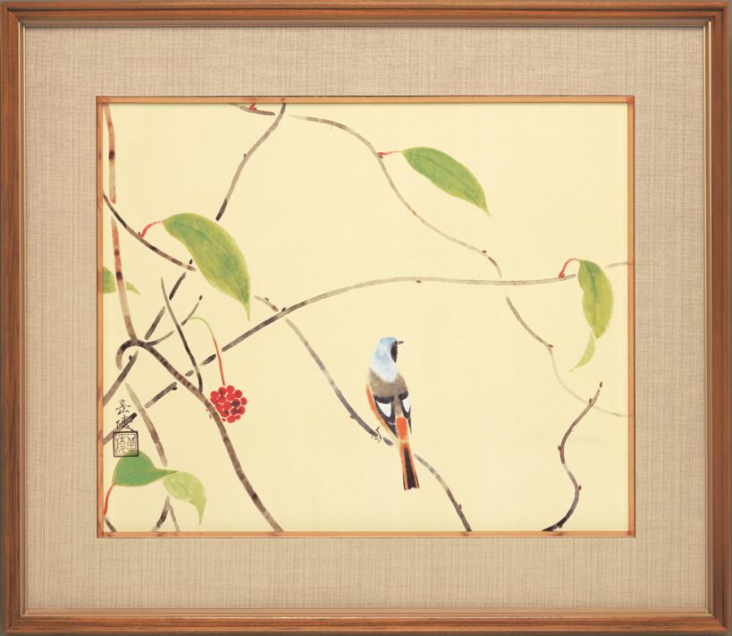 中村岳陵『初冬』彩美版・複製画 額装