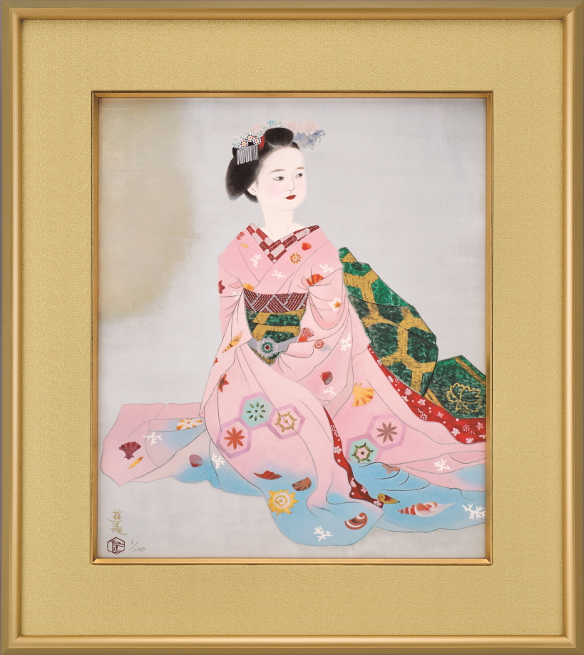 小倉遊亀『舞妓』彩美版・シルクスクリーン手刷り・プラチナ泥一部使用
