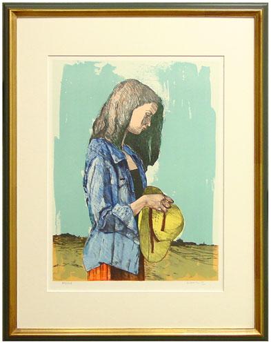 大津英敏『帽子を持つ少女』リトグラフ(石版画)