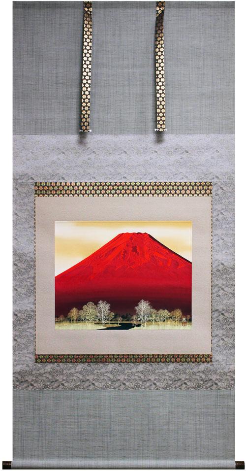 河原 進『赤富士』掛軸(尺八横)【中古】