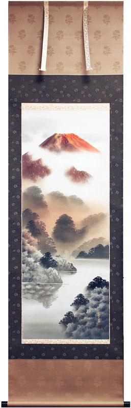 西脇繁華『赤富士』掛軸(尺五立)