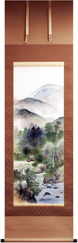 村井湧泉『彩色山水』掛軸(尺五立)【中古】
