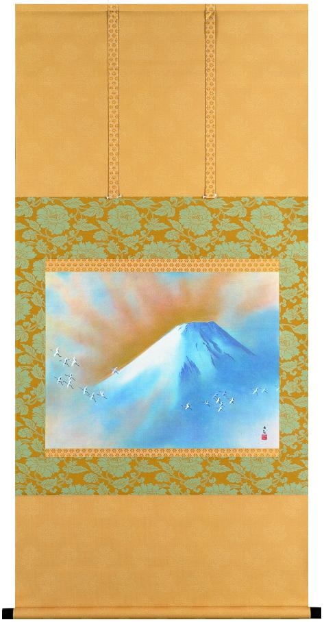 横山大観『霊峰飛鶴』彩美版・シルクスクリーン・本金泥使用 復刻掛軸